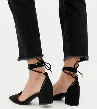 Raid Wide Fit RAID Wide Fit Lucky Black Ankle Tie Mid block Heeled Shoes