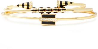 Noir Set Of Two 14-karat Gold-plated Crystal Cuffs
