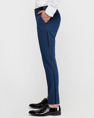 Express Slim Marine Cotton-Blend Satin Stretch Tuxedo Pant