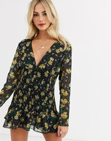 Talulah stardust long sleeve floral mini dress