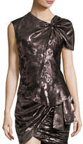Isabel Marant Malo Metallic Floral One-Sleeve Knotted Top, Pink