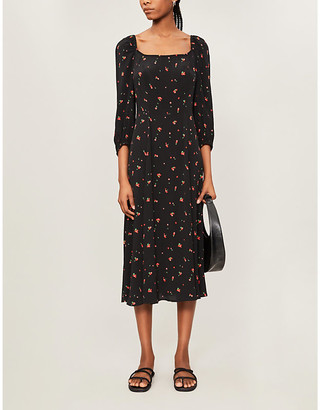 Ghost Joy cherry-print woven midi dress