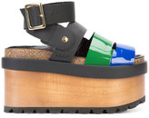 Sacai x Pierre Hardy colour block wedge sandals - women - Wood/Leather/Patent Leather/rubber - 40