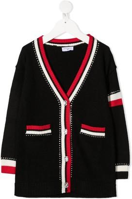 MonnaLisa Striped Trim Cardigan