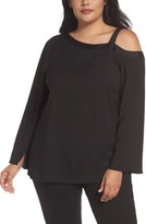 Sejour Plus Size Women's One-Shoulder Bell Sleeve Top