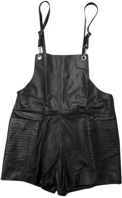 American Retro Black Leather Jumpsuits