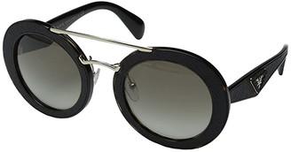 Prada 0PR 15SS (Havana/Light Green Gradient Dark Green) Fashion Sunglasses
