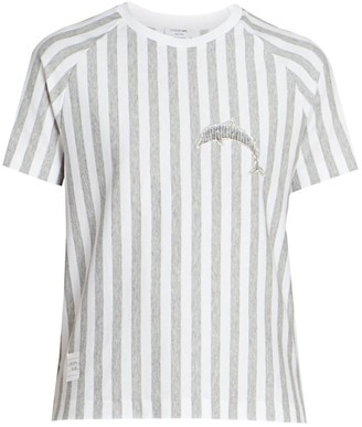 Thom Browne Dolphin Patch Heathered Striped T-Shirt