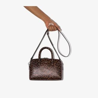 Ganni Brown Leopard Print Leather Top Handle Bag