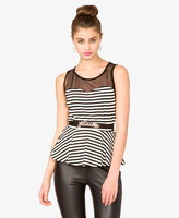 Forever 21 Striped Mesh Peplum Top