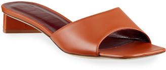 STAUD 25mm Asymmetric-Heel Leather Slide Sandals