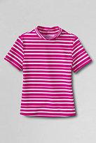 Classic Girls Slim Stripe Mock Neck Rash Guard-Island Blue Stripe