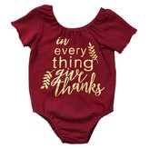 honeys Newborn Baby Girls Short Sleeve Ruffled Give Thanks Word Romper Onesie (6-12months, )