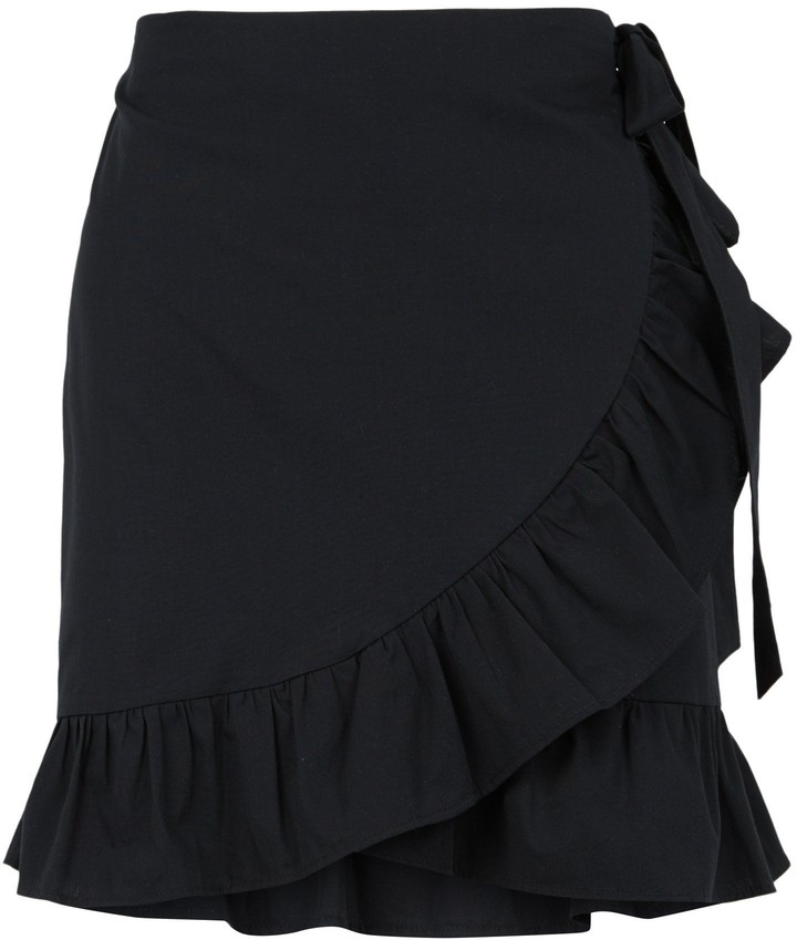 Thumbnail for your product : New Look Poplin Ruffle Wrap Mini Skirt