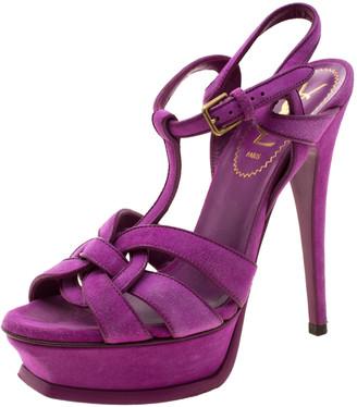 Saint Laurent Paris Purple Suede Tribute Platform Sandals Size 36