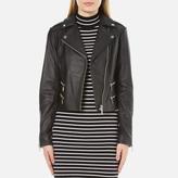 MICHAEL Michael Kors Women's Four Pocket Leather Biker Jacket Black