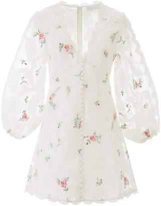 Zimmermann Floral Embroidered V-Neck Mini Dress