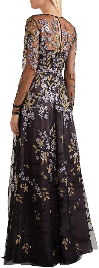 Thumbnail for your product : Naeem Khan Embroidered Tulle Gown