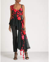 Alexander McQueen Rose-embellished cotton top