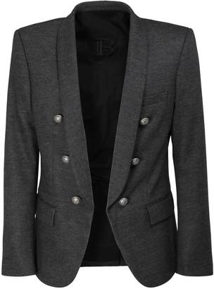 Balmain Shawl Collar Stretch Wool Jersey Jacket