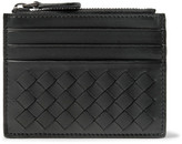 Bottega Veneta Intrecciato Leather Zipped Cardholder - Black
