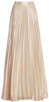Max Mara Pacato Metallic Pleated Silk-Blend Evening Skirt