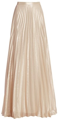 Max Mara Pacato Metallic Pleated Silk-Blend Evening Skirt