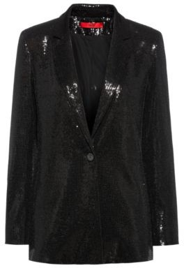 HUGO BOSS Sequin Embellished Regular Fit Jacket In Stretch Fabric - Black