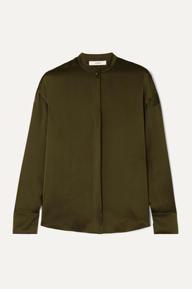 Vince Silk-satin Blouse - Army green