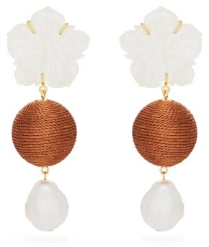Lizzie Fortunato Paper White Floral Pearl-drop Earrings - Womens - Orange