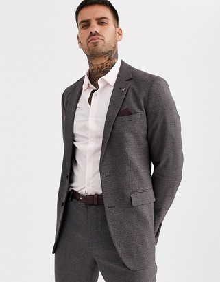 Burton Menswear skinny suit jacket in burgundy hounds tooth check-Red