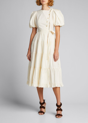 Ulla Johnson Agathe Tiered Cotton Puff-Sleeve Midi Dress