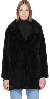 Yves Salomon Meteo Black Curly Wool Coat