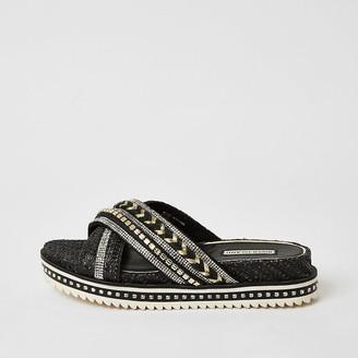 River Island Black embellish cross strap flatform sandals