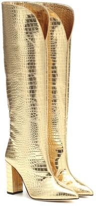 Paris Texas Croc-effect metallic leather boots