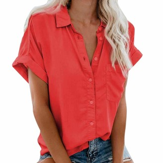 CUTUDE Blouse Tops Womens Casual Chiffon V Neck Short Sleeve Button Down Ladies Fashion Pocket Button Tee Solid Color Shirts S-3XL (Red 3XL)