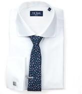 The Tie Bar White Herringbone - French Cuff Non-Iron Shirt