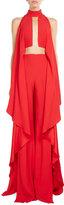 Balmain Mock-Neck Cascading Ruffle Jumpsuit, Red