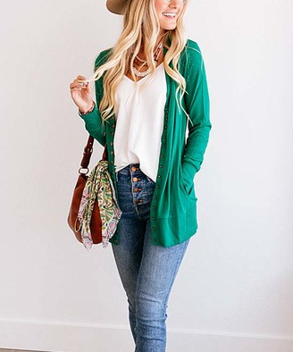 So Perla Affordable So Perla Affordable Women's Cardigans Forest - Forest Green Long Snap Pocket Cardigan - Women