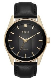 Relics by Fossil Men's Rylan Gold and Black Leather Diamond Accent Watch