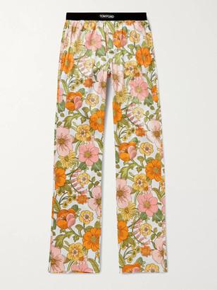 Tom Ford Velvet-Trimmed Printed Stretch-Silk Satin Pyjama Trousers