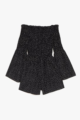 Nasty Gal Womens Rest A-shirred Off-the-Shoulder Spotty Playsuit - Black - 6