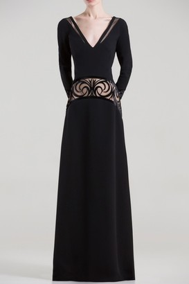 Saiid Kobeisy Wide V Neck Long Sleeve Gown