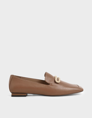 Charles & Keith Leather Metallic Accent Loafers
