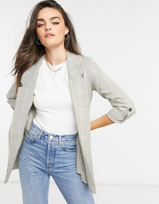 Stradivarius check blazer in beige
