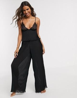 Bluebella Atlanta plisse lace cami trouser pyjama set in black