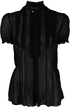 Polo Ralph Lauren Transparent Ruffled-Detail Silk Blouse