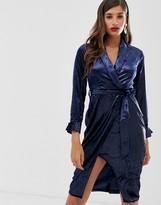 Closet London Closet lapel wrap dress