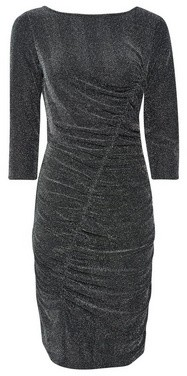 Dorothy Perkins Womens Silver Ruched Bodycon Dress, Silver