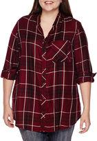 Arizona Long-Sleeve Boyfriend Plaid Shirt - Juniors Plus